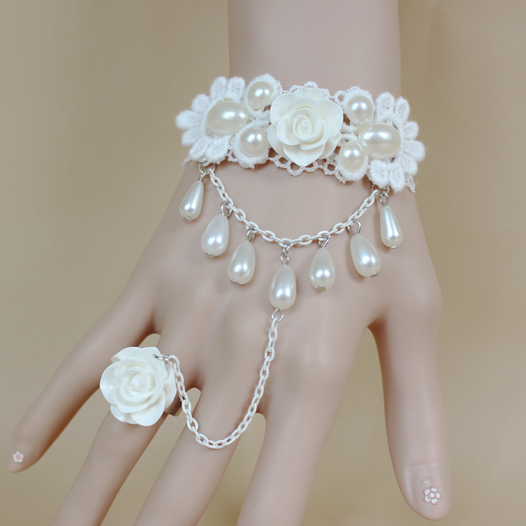 2015 hit the bride bridesmaid bracelets white lace pearl roses, hand catenary wedding costume jewelry accessories(China (Mainland))