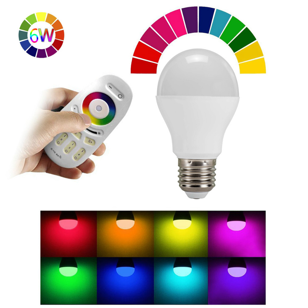 Mi Light 1PC 2.4G 6W RGB Warm White Smart LED Bulb Color Adjustable Dimmable Lamp with RGBW RF Touch Remote Controller for Home(China (Mainland))