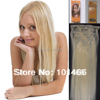 New Packing15''18'' 20'' 22'' Natural Clip in 7pcs Hair Extension 1set #60 white blonde Silky Straight weaves hair Free Shipping