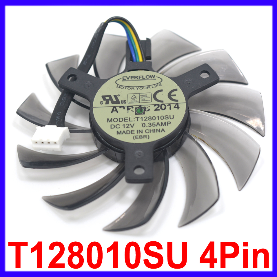 Computer Fan Replacement Everflow T128010SU 75MM 4Pin 12V 0.35A Cooling Fans Graphics Video Card Gigabyte GeForce GTX 670 680(China (Mainland))