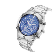 2016 Men Watches, Stainless Steel Analog-digital Sport Watch, Waterproof Dual Time Zones Alarm Chronograph Quarzt Wristwatches