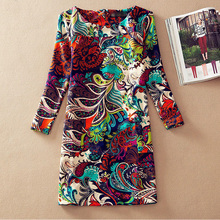 New 2016 vintage dresses Fashion women clothing  winter print  vestidos femininos autumn casual dress  4XL Plus Size dress(China (Mainland))