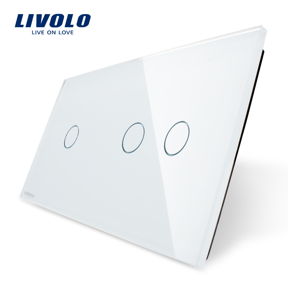 Гаджет  Free Shipping, Livolo Luxury White Pearl Crystal Glass, 151mm*80mm, EU standard, Double Glass Panel, VL-C701-11/VL-C702-11 None Электротехническое оборудование и материалы
