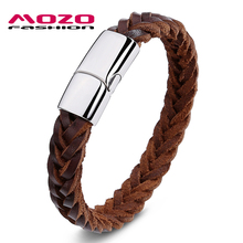 Buy MOZO FASHION Men Bracelet Black / Brown Woven Leather Rope Chain Stainless Steel Magnetic Clasps Bracelets Casual Jewelry PS2001 for $7.98 in AliExpress store
