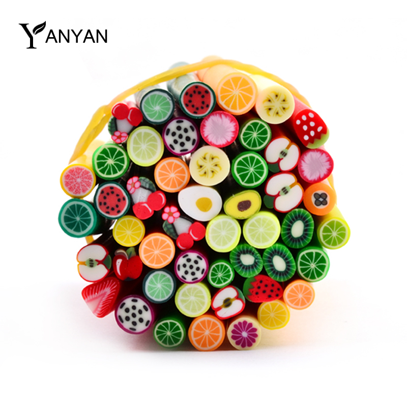 New 10pcs/pack Feather Heart Fruit Design Polymer Clay Nail Art 3d Fimo Canes Rods Stick DIY Beauty Nail Sticker Decoration Tool(China (Mainland))