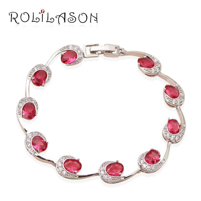 Creative design rose ruby zircon crystal bracelets for women silver filled most popular style Design and style fashion jewelry