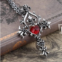 Vampire Diaries Vintage Unique RED Sacred Heart Crystal Cross Necklace Pendant Chain Long Necklaces (China (Mainland))