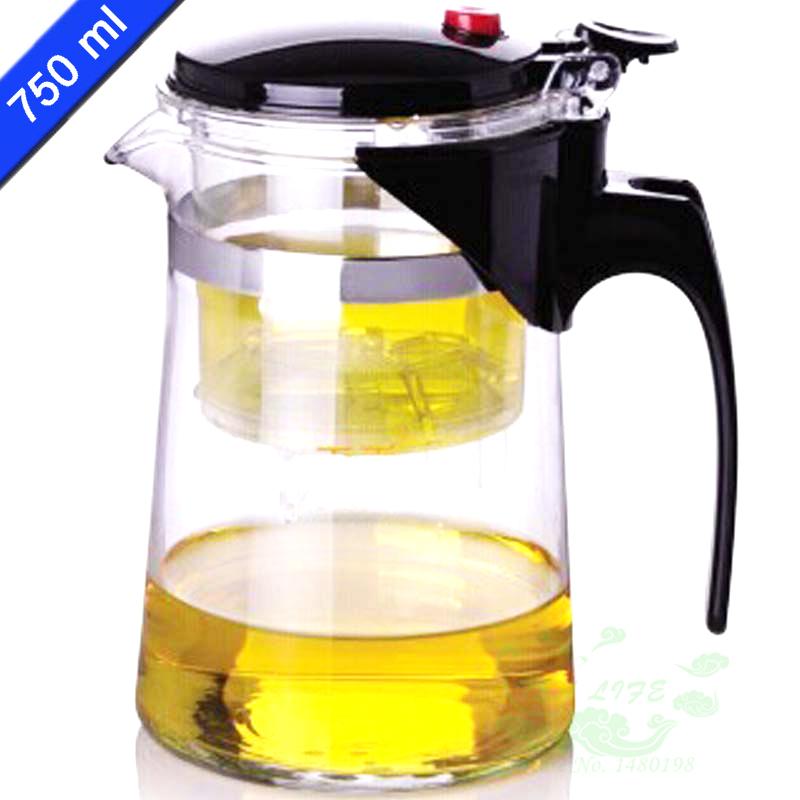 New Design Tea Pot 750ml Simple Tea Kettle Teapot Heat Resistan Glass Convenient Office Teapot Set