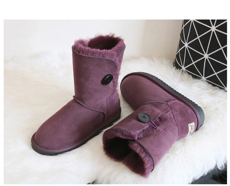 ซื้อ BLIVTIAE/หรูหราหนังแกะหิมะบู๊ทส์ออสเตรเลียฤดูหนาวขนแกะขนสัตว์รองเท้าหิมะคลาสสิกหนาปุ่มกลางผู้หญิงรองเท้าหนัง