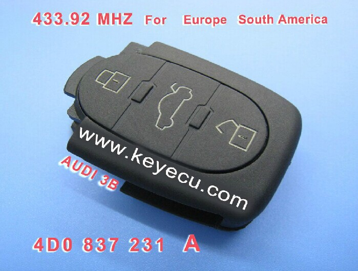 Replacement Remote key Transmitter Fob Keyless Entry 3 Button 433MHZ 4D0 837 231 A 4D0837231A For A3 A4 A6 Old Models(China (Mainland))