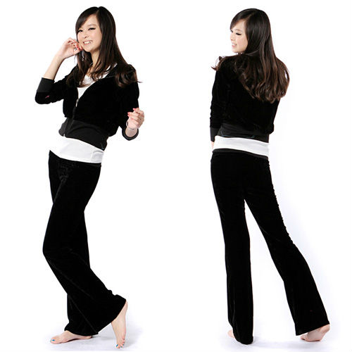 Hot Popular! Womens Comfy Soft Velour Tracksuit Hoodie Sweat Set Drawstring Lounge Pants 37390(China (Mainland))