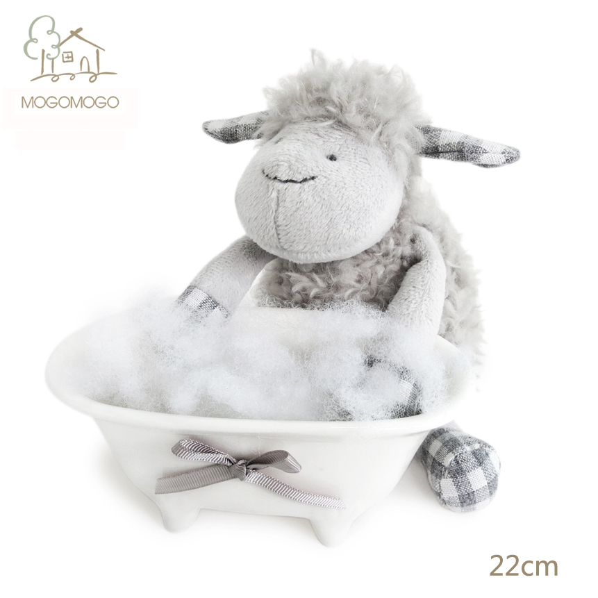 22cm hand-made cute grey sheep plush toys mainly for famous brand,stuffed animals, doll/toy 100% linen plush toys(China (Mainland))
