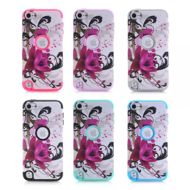 3 in 1 Elegent Hybrid Impact Celular Case For Apple iPod Touch 5 Coque Fundas cover Armored shockproof Wood lotus skin(China (Mainland))