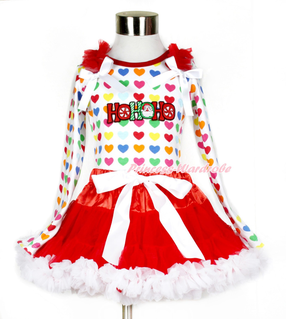 Xmas Red White Pettiskirt with HOHOHO Santa Claus Print Rainbow Heart Long Sleeve Top with Red Ruffles & White Bow MAMW412(Hong Kong)