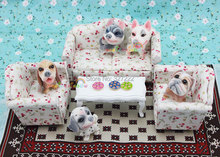 3 x Living Room Sofa Set Furniture Couch Flower Dollhouse Miniature 1:12 Scale(China (Mainland))