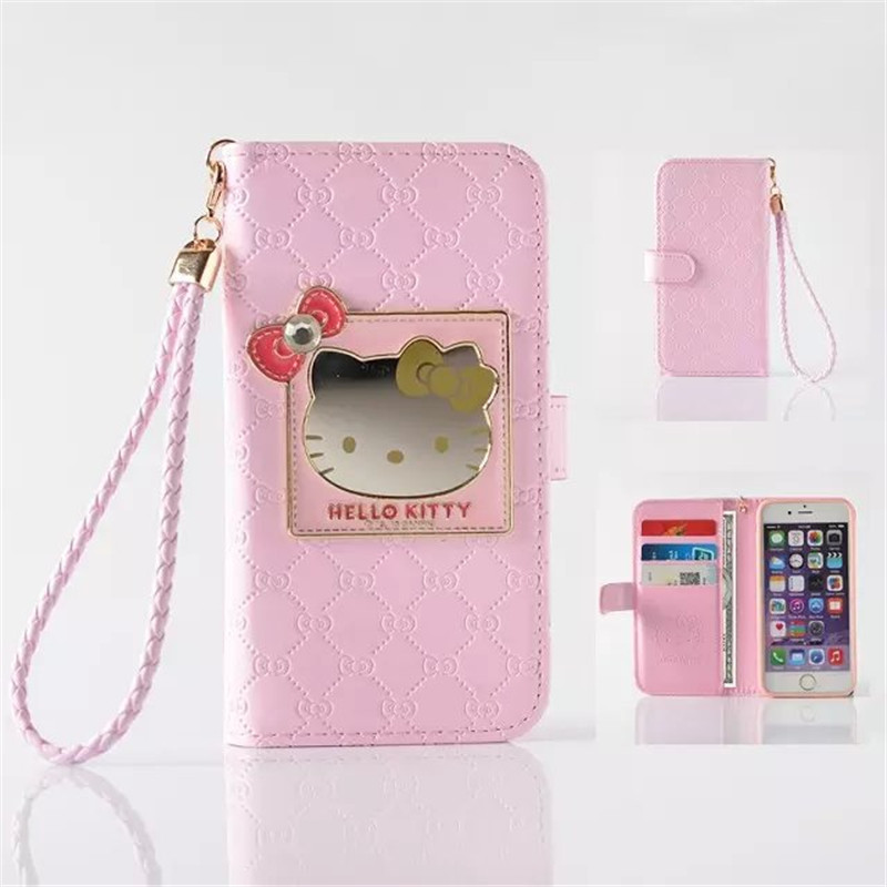 6s Hello Kitty PU Shiny Leather Case for Iphone 6s 6.7 inch Wallet Holster Flip Phone Back Cover Bag Coque for Apple 6s(China (Mainland))