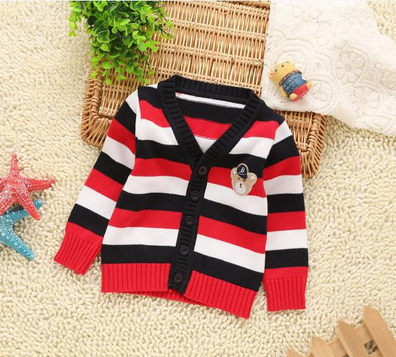 Autumn baby boy sweater cardigan red orange long sleeve v neck bear striped knitted sweater kids boys sweater jacket 4pcs/lot<br><br>Aliexpress
