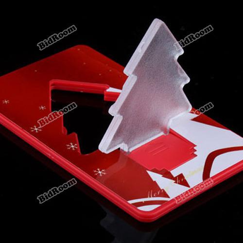 minisale Fashionable! Folding Pocket LED Card Light Lamp Bulb Christmas Tree Underspend!(China (Mainland))