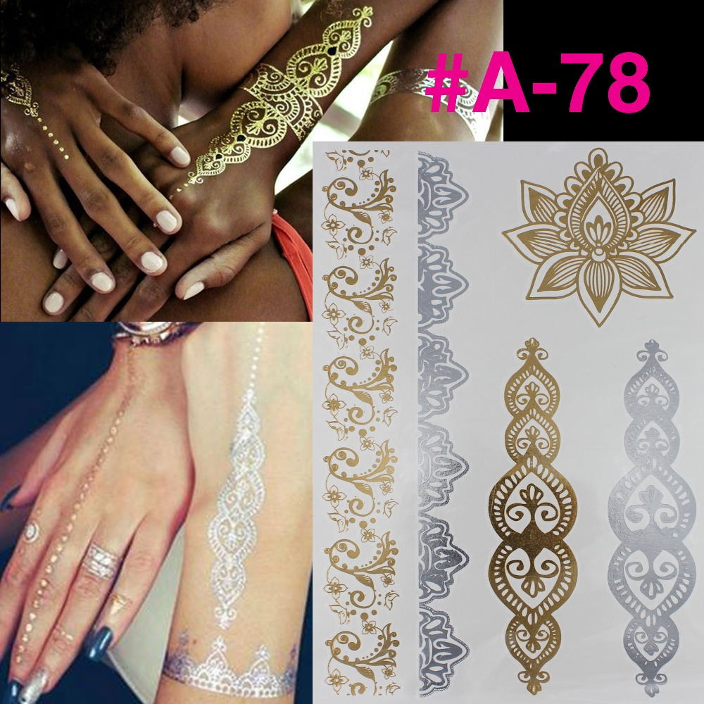 Silver gilding tattoo neck collar bone lasting waterproof tattoos tattoo stickers gold hit TATY tattoo stickers