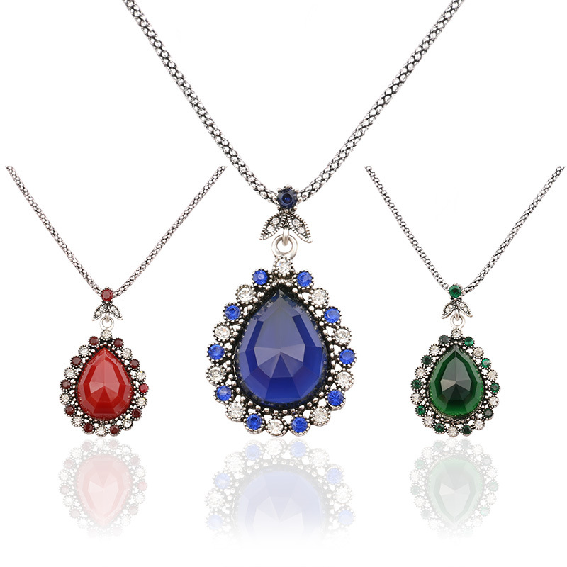Hot sale Ruby Sapphire Turkish Jewelry Antique Silver Plated Big Red Bule Green Agate Resin Pendants Necklace For Women Charm(China (Mainland))