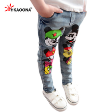 Autumn Kids Jeans Cartoon Lovely Mouse Denim Pants For Baby Boys Girls Kids Trousers Elastic Waist Pants Children's Clothes(China (Mainland))