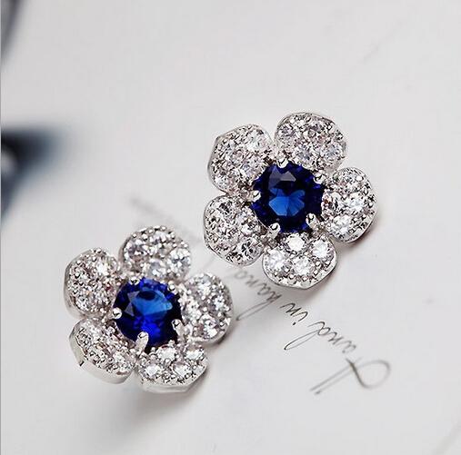 2015 New Fashion Vintage Charm Blue Crystal Sapphire Flower Full Rhinestone Leaf Stud Earrings For Women Brincos E346<br><br>Aliexpress