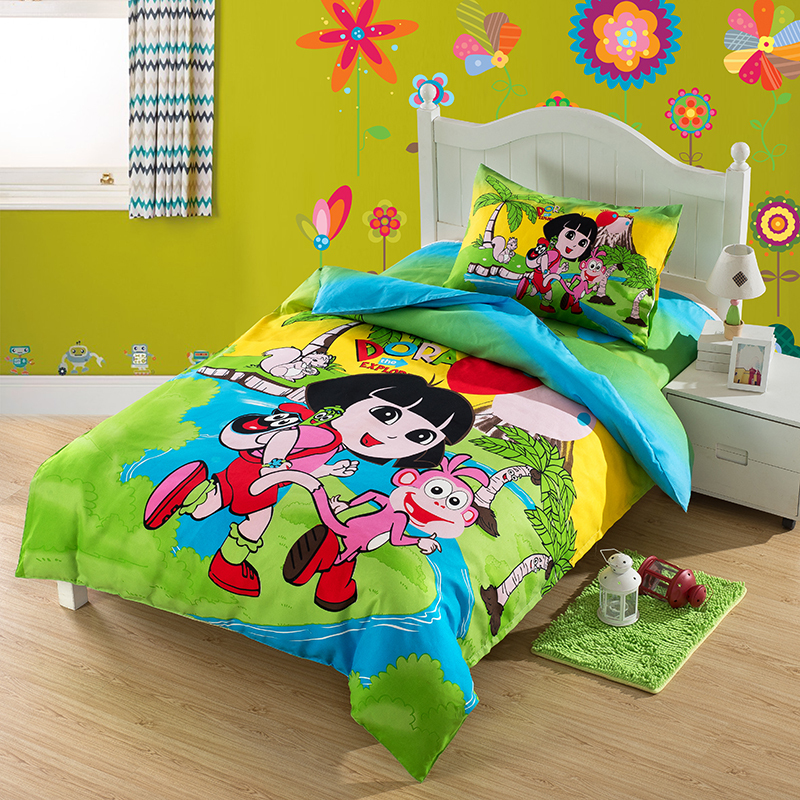 Happy dora comforters and quilts green bed sheets housse for Housse de voiture hello kitty