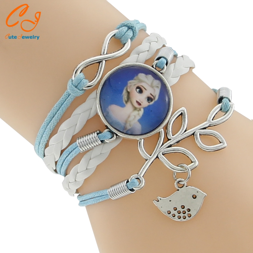 1 Pcs Vintage Snow Queen Antique Glass Charms cartoon Princess Braid Leather Bracelet Wristbands Kids Party Gift Supply 9 Style(China (Mainland))