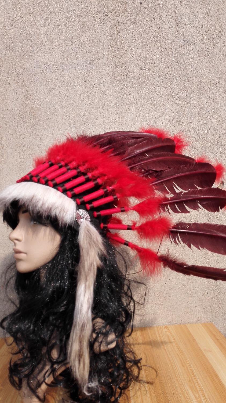 21 дюймов темно-коричневый индийские головной убор из индийской войны капот ручной работы индийские костюмы перо шляпа