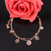 Sexy Chain Link Beach Anklets Pendant Crystal Rhinestone Ankle Bracelet Foot Jewelry For Women Anklets Foot