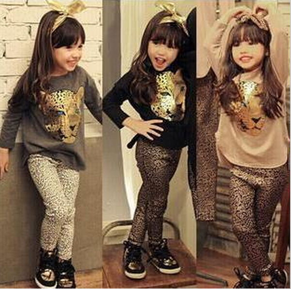 Retail 2016 New Girls Clothing Sets Baby Kids Clothes Children Clothing Full Sleeve T-Shirt Leopard Legging , 2pc Set , 3 Color
