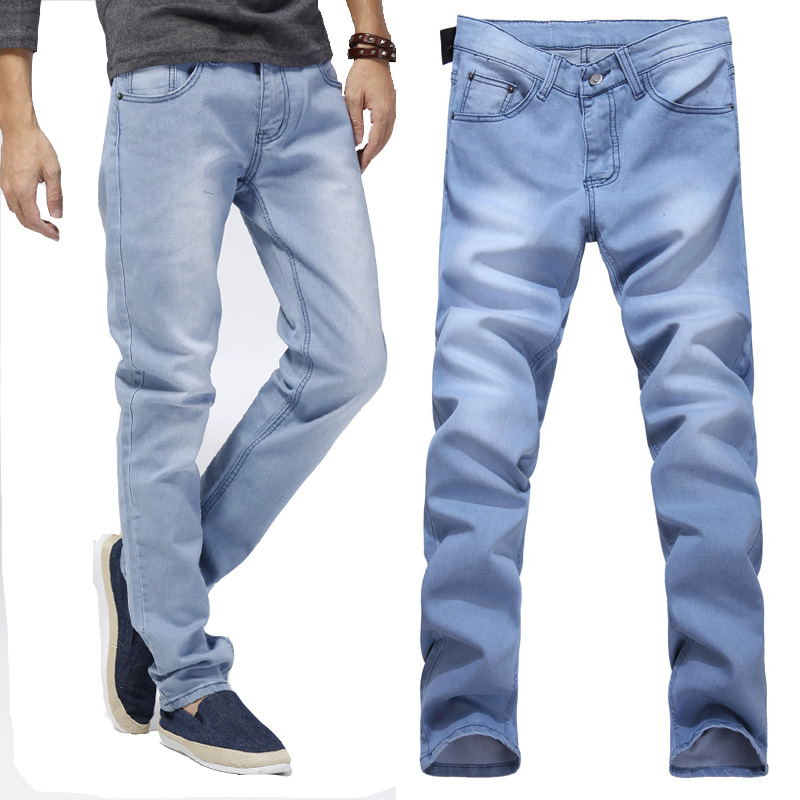 Spring summer light color jeans men slim skinny pants mens elastic skinny jeans-inJeans from Men ...