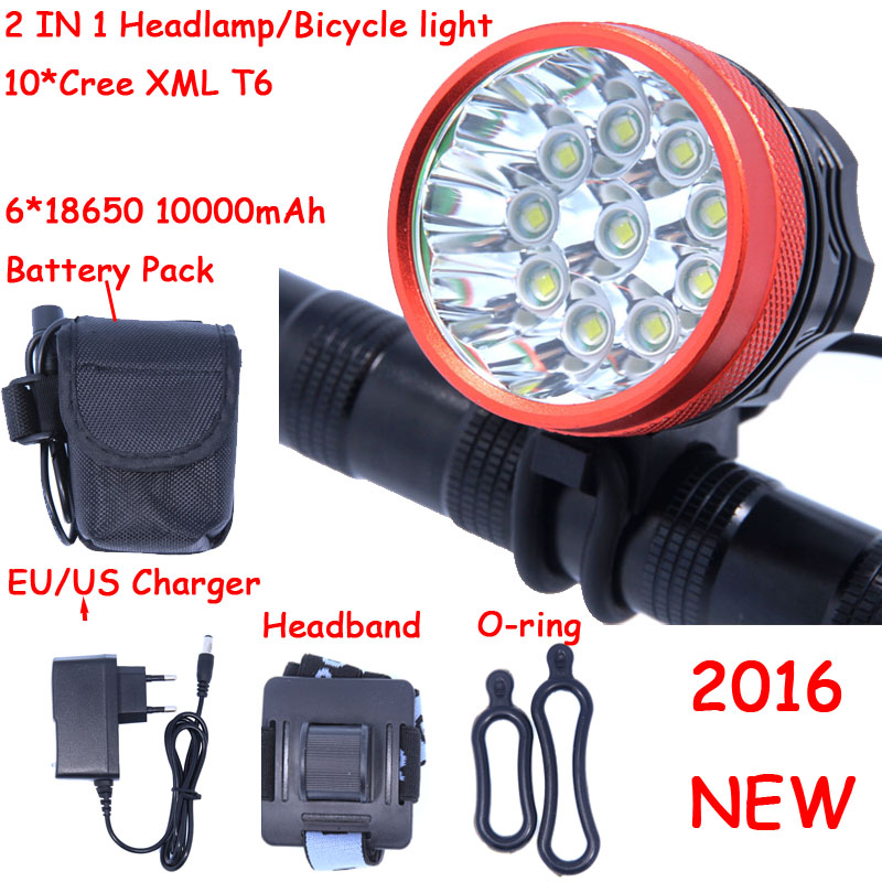 2016 New 18000 Lumens 10 X CREE XM-L T6 LED Front Head Bike Bicycle Cycling Lamp + 10000mAh 6*18650 Battery Pack + Charger(China (Mainland))
