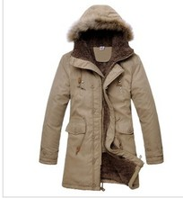 2014 The Korean Version of the new cotton casual cotton hooded fur collar Long Coat Jacket Men Slim