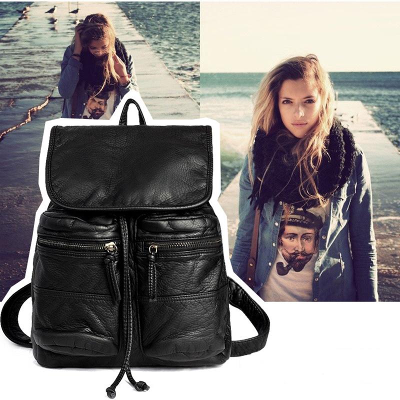2016 Women Backpacks Black Soft Washed Leather Bag 2 Zipper Pocket Shoulder Schoolbags For Girl Female Outdoor Travel Sports Bag(China (Mainland))