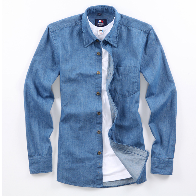 spring autumn male long sleeve100% cotton casual shirts men solid color slim Jeans shirt men denim shirts 2014 camisa masculina(China (Mainland))