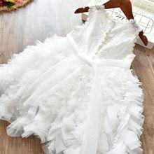 Meninas do bebê Roupas Princesa Pequena Rendas Bolo Tutu Sashes Vestido de Verão Roupa Dos Miúdos Aniversário Cor De Rosa Vestido Infantil De Menina 3 5 8 Y(China)