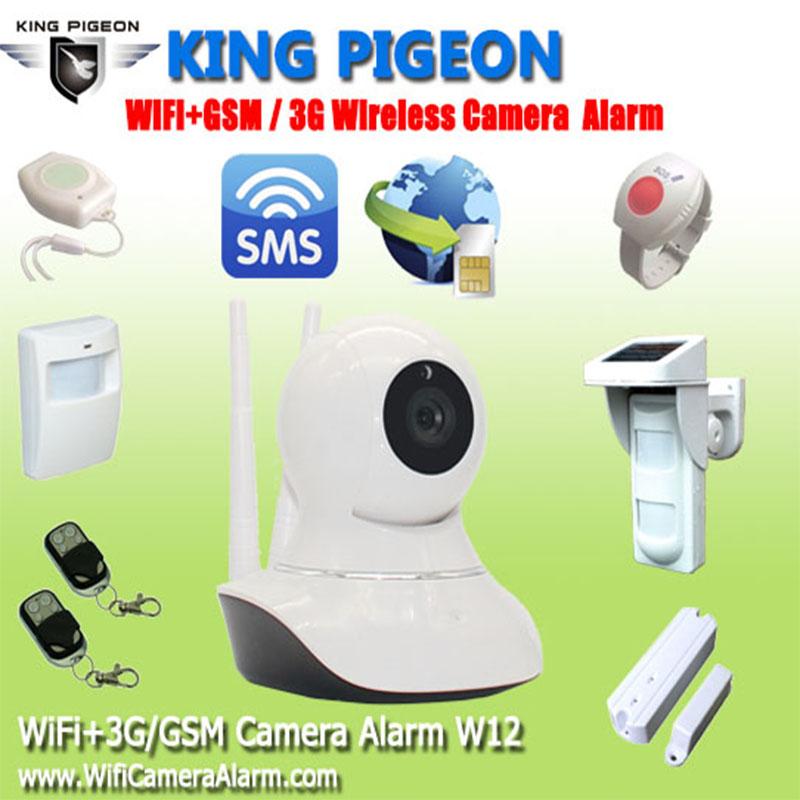 2016 King Pigeon W12 WiFi GSM 3G Camera Home Burglar Alarm System HD 720P WiFi IP Camera With SMS Alarm Wireless PIR Pet Sensor(Hong Kong)