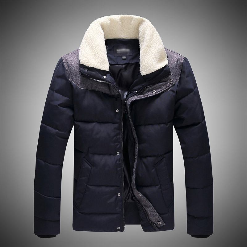 Men Lamb fur stand collar men's clothing casual wadded jacket warm & Parkas coat mens parka - Show play store