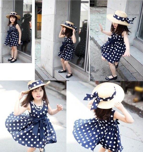 Гаджет  kids clothes hot sale woven navy/white cute knee length princess casual round dot girl dress vestidos for 100-140 cm baby None Детские товары