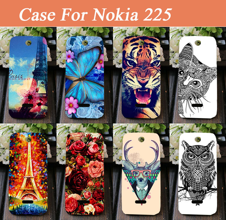 Ultra Slim Hard Back Cover Rose Flower Animal painted case for Nokia Asha 225 cover for Nokia 225 Dual SIM Drop Shipping(China (Mainland))