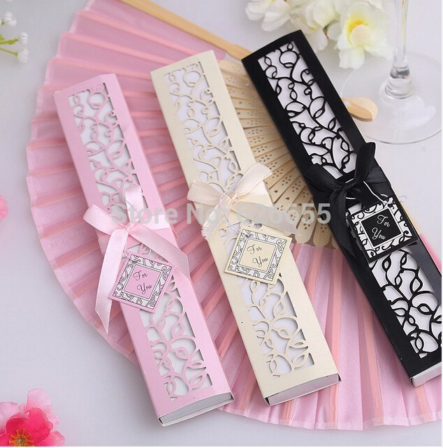 1pcs Luxurious Silk Fold hand Fan in Elegant Laser-Cut Gift Box (Black; Ivory ; pink) +Party Favors/wedding Gifts(China (Mainland))