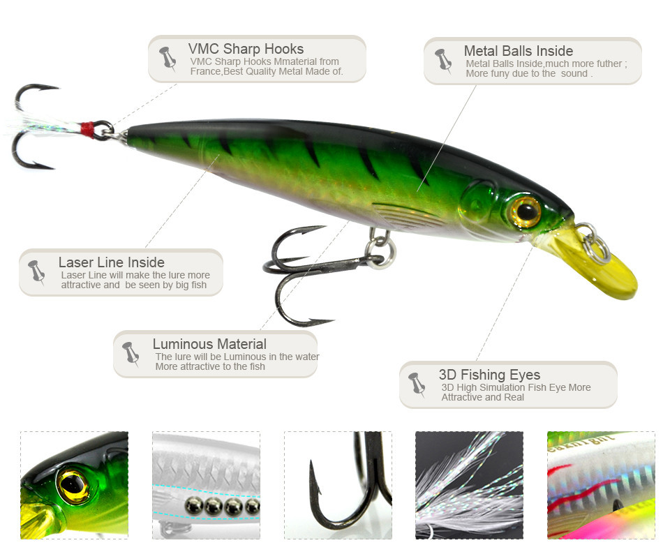 7 pcs professional lures minnow dive artificial bait for Funny fishing lures