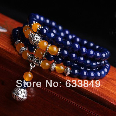 D458 National Blue Crystal Stone Bead With Carved Tibet Silver Accessory Buddha Lucky Chain Healthy Bracelets(China (Mainland))