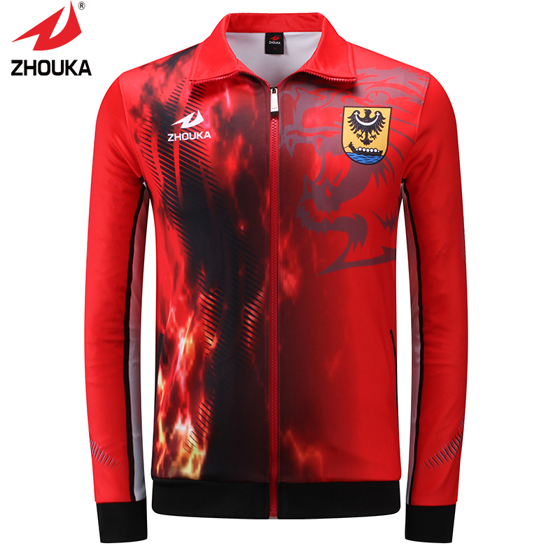 Hot sale design zhouka full sublimation men's soccer training sports customized jackets suit(China (Mainland))