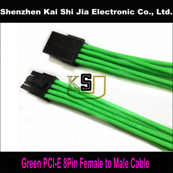 """Free shipping 12"""" Green 8 Pin GPU PCI Express Sleeved Heatshrinkless Power Extension cable(China (Mainland))"""