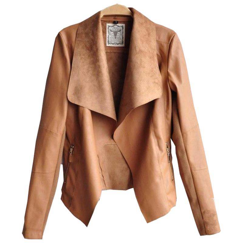 Brown Leather Jacket Women Big Lapel Collar Faux PU Black Jackets Coats Winter Short Outwear Plus Size XXXL WJ10 - N-DEER-N store