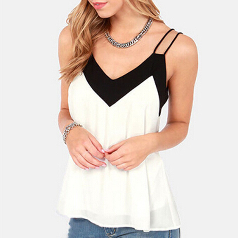 2015 Summer Style Sexy Womens Sleeveless Halter Blouses Casual Vest Loose Chiffon Blouse V Neck Tank Tops Plus Size White Blusas(China (Mainland))