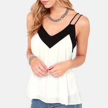 2015 stile di estate sexy delle donne senza maniche halter camicette della maglia allentata casuale camicetta di chiffon v neck tank tops plus size bianco blusas(China (Mainland))
