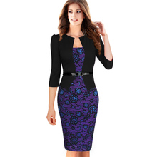 2015 Women Summer Elegant Belted Tartan Lace Patchwork Tunic Wear to Work Business Casual Pencil Wiggle Sheath Dress 068(China (Mainland))